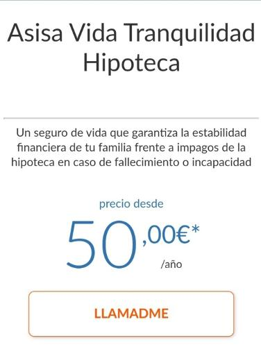 SEGURO ASISA VIDA TRANQUILIDAD HIPOTECA