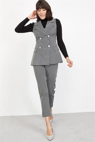 Women's Black Stripe Vest