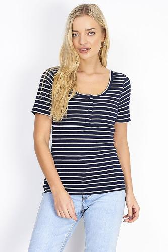 POPPER DETAIL STRIPED SCOOP NECK T-SHIRT