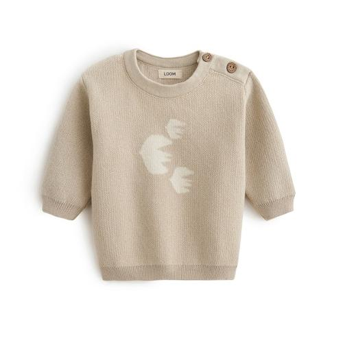Bird Print Sweater Beige