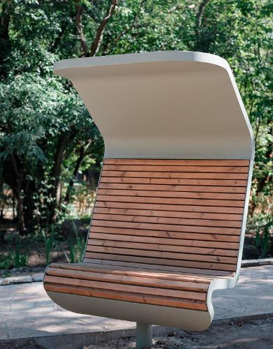 "Bench ""Techno"" (swivel, a double one with a canopy, without an embedded plate)"