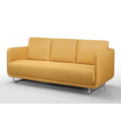 Canapé droit vintage cubique 3 places JONAZ en tissu jaune