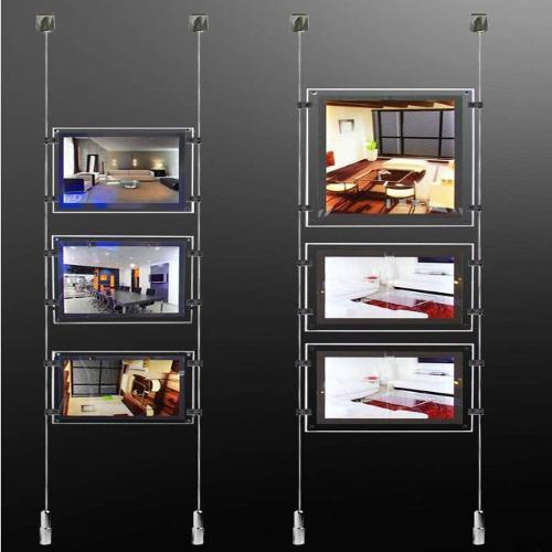A4 porte affiches LED sur câbles tendus inox