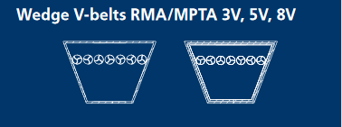 Courroies étroites trapézoïdales RMA/MPTA