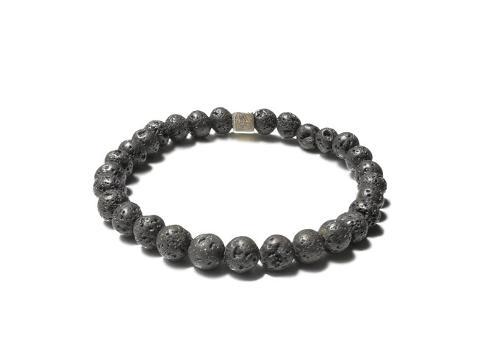 Lava Stone Silver Men's Diffuser Bracelet