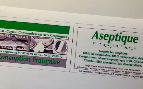 Lingettes « Aseptiques » Solution Alcoolisée <90 - Personnalisables