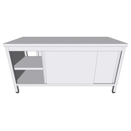 Table-armoire centrale passante à portes coulissantes