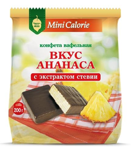 Waffle sweets pineapple flavor with chocolate  with stevia