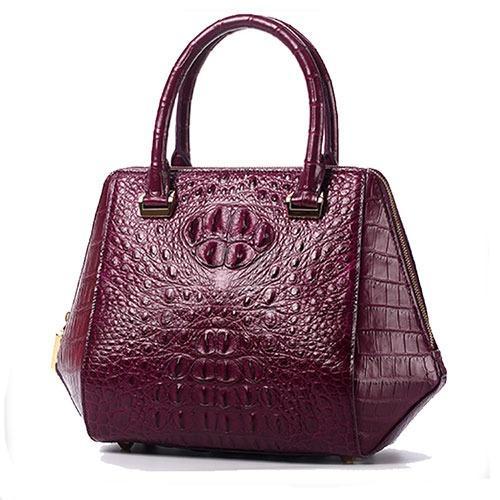 Luxury women gold painted genuine crocodile leather handbag
