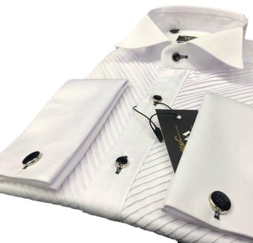 Pleated tuxedo shirts for men