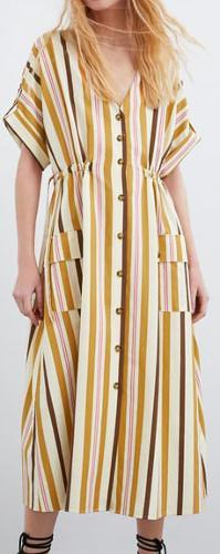 striped casual cotton dress
