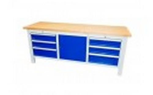 Heavy duty workbench with a cabinet and drawers