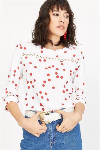 Women's Red Polka Dot Blouse