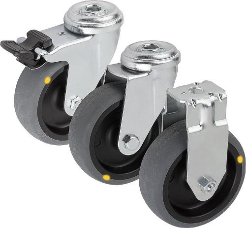 Swivel and fixed castors electrically conductive,...