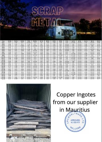 Copper ingots 98%+