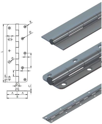 Piano hinges, continious hinges