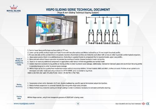 Royal Glass Vispo Sliding Series Technical Glazing System