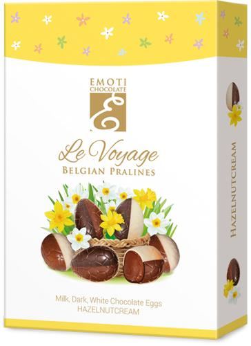 EMOTI Chocolate Eggs with hazelnut filling, 100g. SKU: 01568