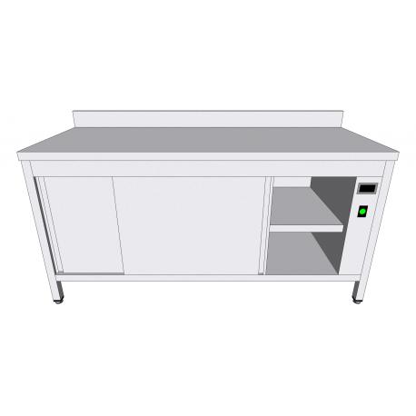 Table-armoire adossée chauffante en inox