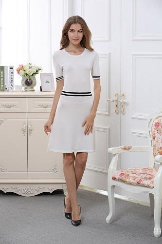Women's round collar short sleeve long dress W1603