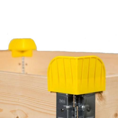 Stacking corners for pallet collars, yellow
