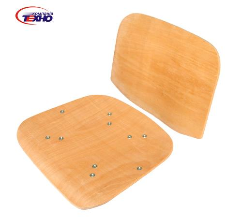 Curved, molded plywood for seats and back