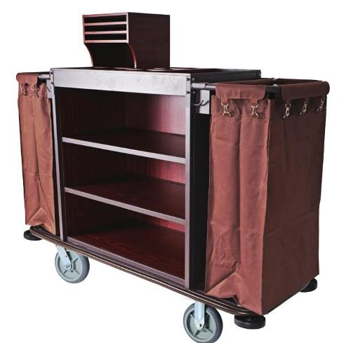 Deluxe Iron Frame Mixed Wooden Board Housekeeping Cart