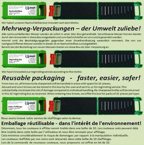 Mehrweg-Verpackungen / Nachschleifservice / Regrinding