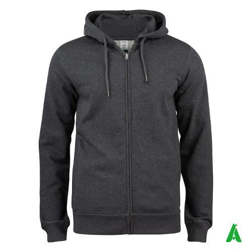 Felpa 100% cotone organico a giacca con cappuccio e zip