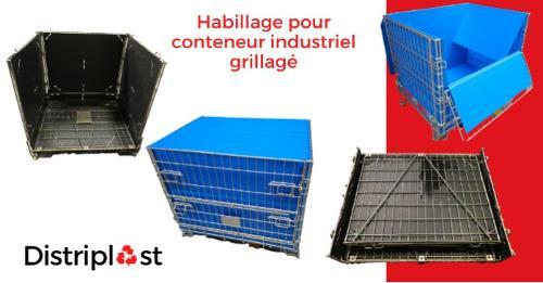 Habillage pour conteneur industriel grillagé