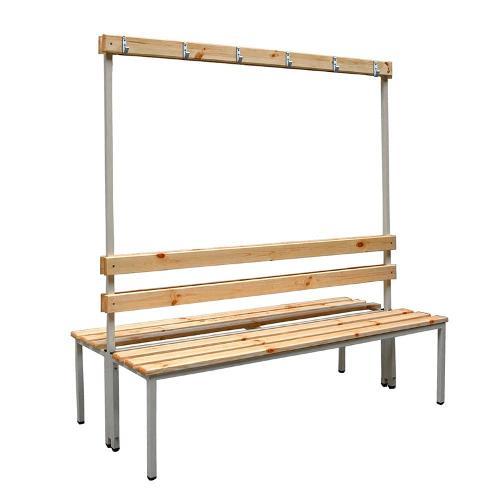 Banc de vestiaire bois double assise avec...
