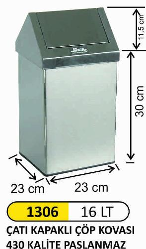 1306 16LT Roof Covered Waste bin 430 Quality Stainless Steel