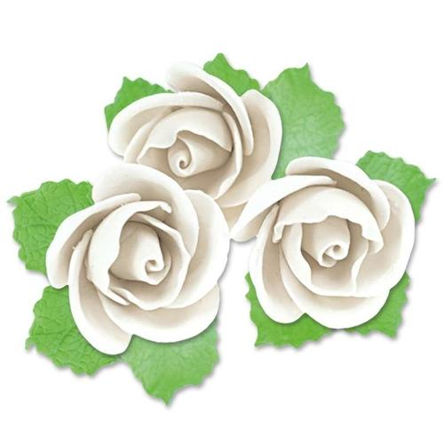 Fleurs En Pastillage Rose Semi-ouverte Blanche Avec Feuilles