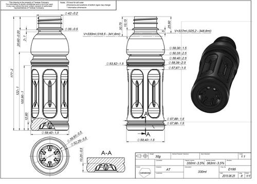 Projecto e Desenho embalagens em PET/PP