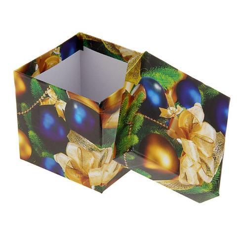 Подарочная коробка (3шт.в уп.) золотые и синие шары...