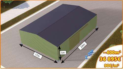 Blechverkleidetes Gebäude mit Schiebetür (4x6m)