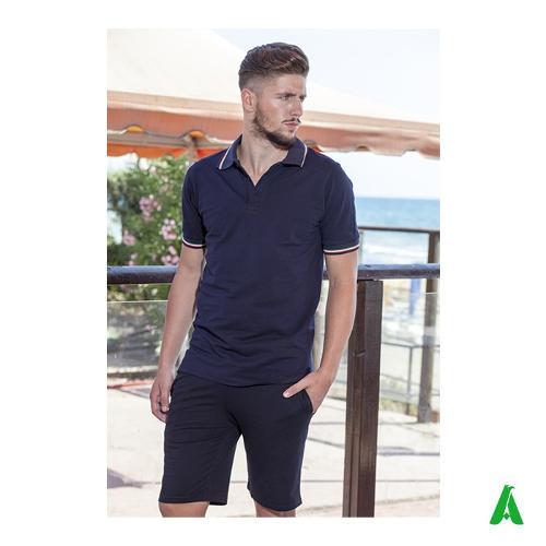 Polo Made in Italy per uomo, con costina tricolore