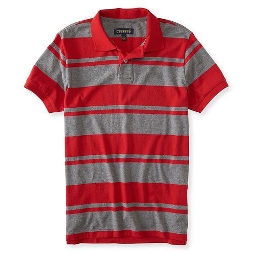 Men Polo Red Grey