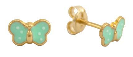 Gold butterfly stud earring