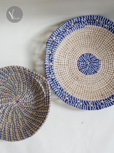 Handwoven Blue Border Seagrass Plates