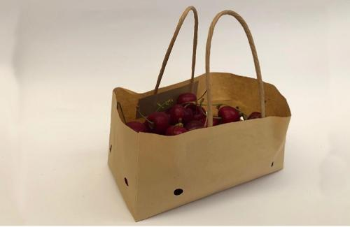 Wet strength cherry paper bag with ventilation& brown handle