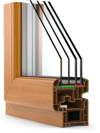 Heat-insulating triple-pane gas-filled window