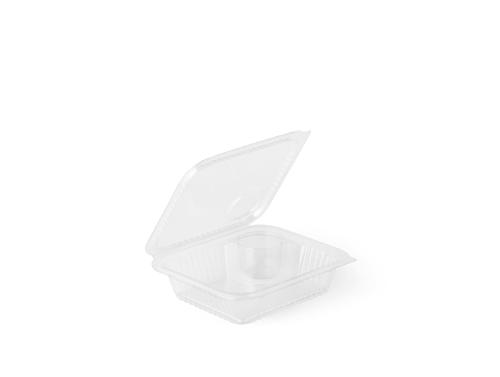 Salad box with dressing comp and flat lid