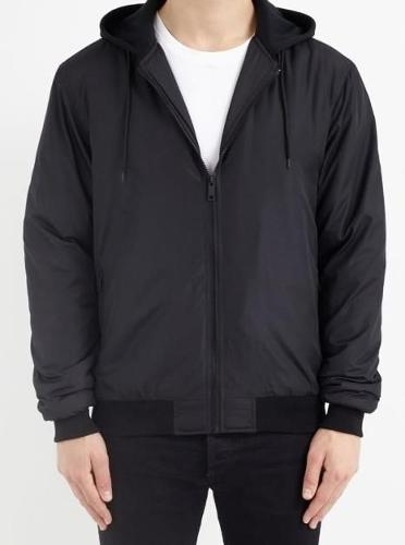 JERSEY HOOD DETAIL PADDED BLACK BOMBER JACKET