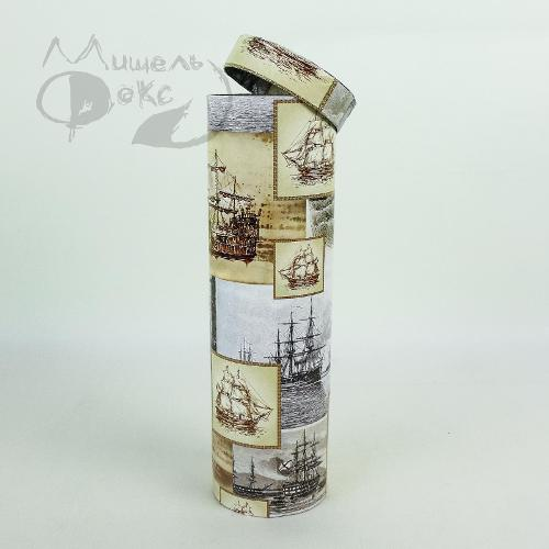 Подарочная коробка (тубус под бутылку) корабли 9,2х9,2х32см