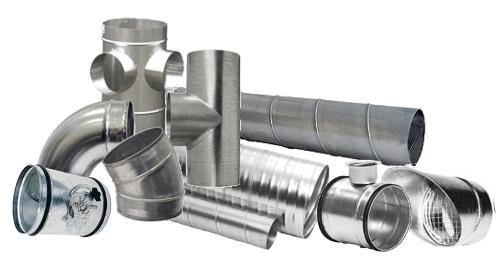 Tuyauterie et composants en tôle galvanisée spiralée