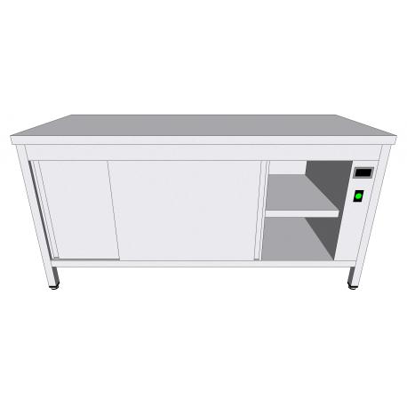 Table-armoire centrale chauffante en inox