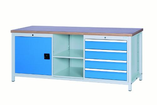 Workbench 2000 with 4 drawers and 1 hinged door