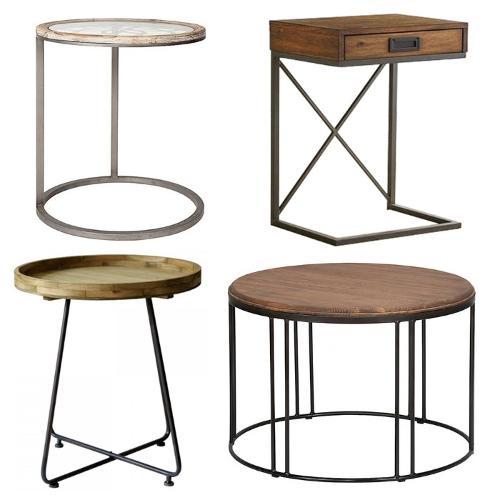 Simple retro wood face beside table iron table leg