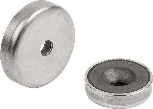 Shallow Pot Magnets With Countersink Hard Ferrite With...
